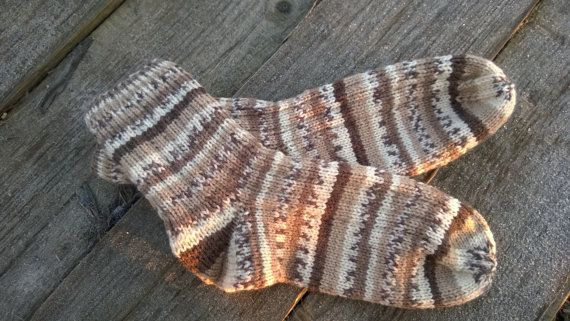 Hand knitted ribbon man socks for him and for her от ONiksShop