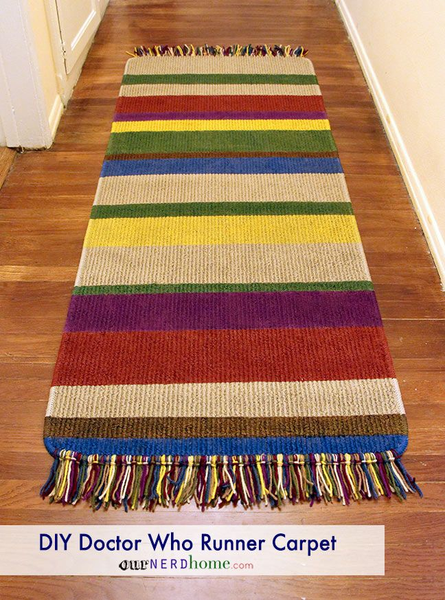 make your own DIY Doctor Who rug, in the form of this Tom Baker scarf runner carpet.