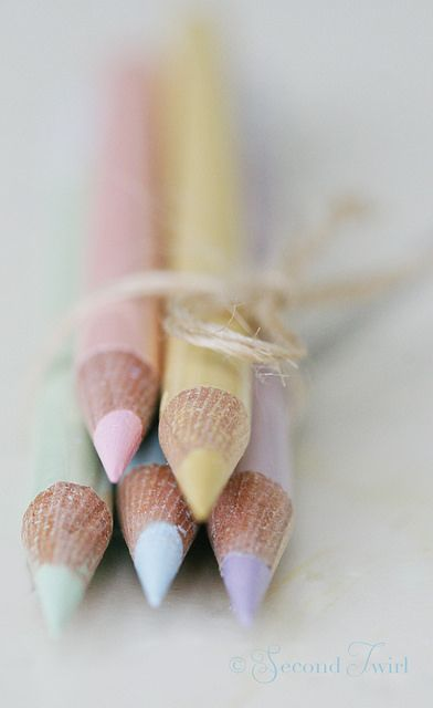 Pastel coloured pencils tied with string. It's just soooo pretty and will sit next to our phones. xx