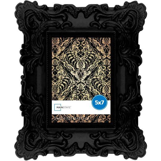 Mainstays 5x7 Chunky Baroque Picture Frame Black Walmart Com In 2020 Baroque Frames Picture Frames Fun Halloween Decor
