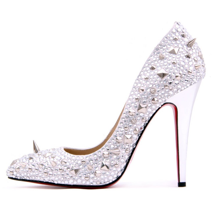Specchio Leather and Strass Silver Pump WITH SPIKES: Kindergarten Parents, Wedding Shoes, Wedding Day, Pumps Cinderella, Silver Pumps, Pumps Repin By Pinterest, Glam Rock
