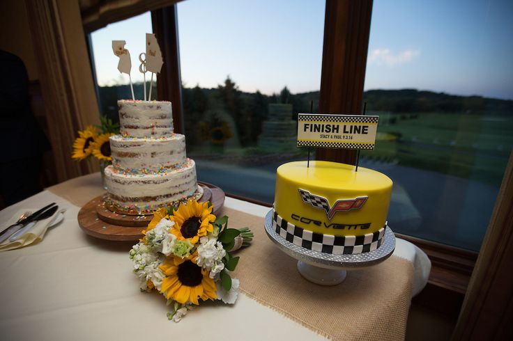 a perfect cake pair..corvette theme groom's cake and a confetti naked cake.  View more  NJ NYC wedding  photography and videography by Blue Moon Video Productions  http://www.bluemoonvideoproductions.com #bluemoonvideo