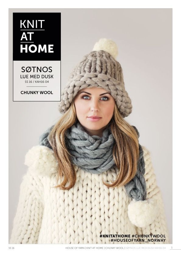 16-04 SØTNOS LUE MED DUSK | free knitting pattern | knitted hat | knitted beanie | chunky knits