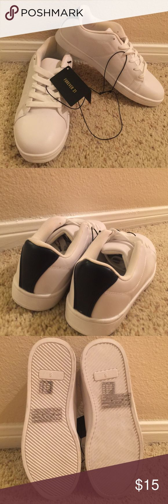 NEW White sneakers with navy strip in back NEW White sneakers with navy strip in back Forever 21 Shoes Sneakers