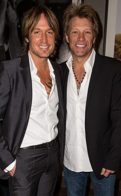 Keith Urban and Jon Bon Jovi:  Two fine looking me in white shirts and jackets.  Too much perfection . . .