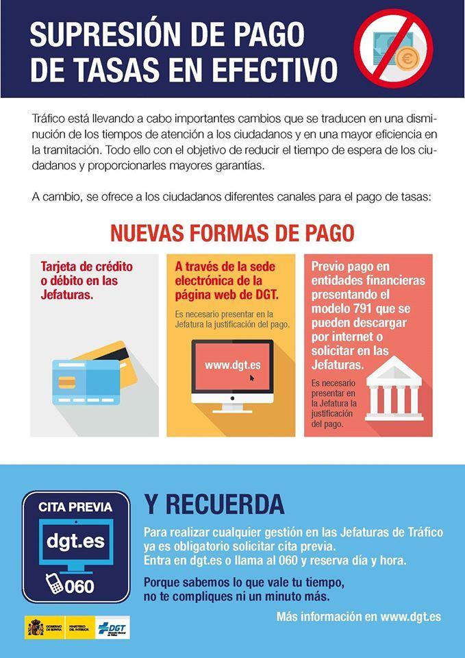 A partir de hoy se suprime el pago en metálico de las tasas de Tráfico en las jefaturas provinciales y oficinas locales de Canarias, Madrid y Cataluña. Las tasas se pueden pagar con tarjeta bancaria de crédito o débito y a través de Internet: https://sede.dgt.gob.es/es/tramites-y-multas/pago-tasas/pago-de-tasas/