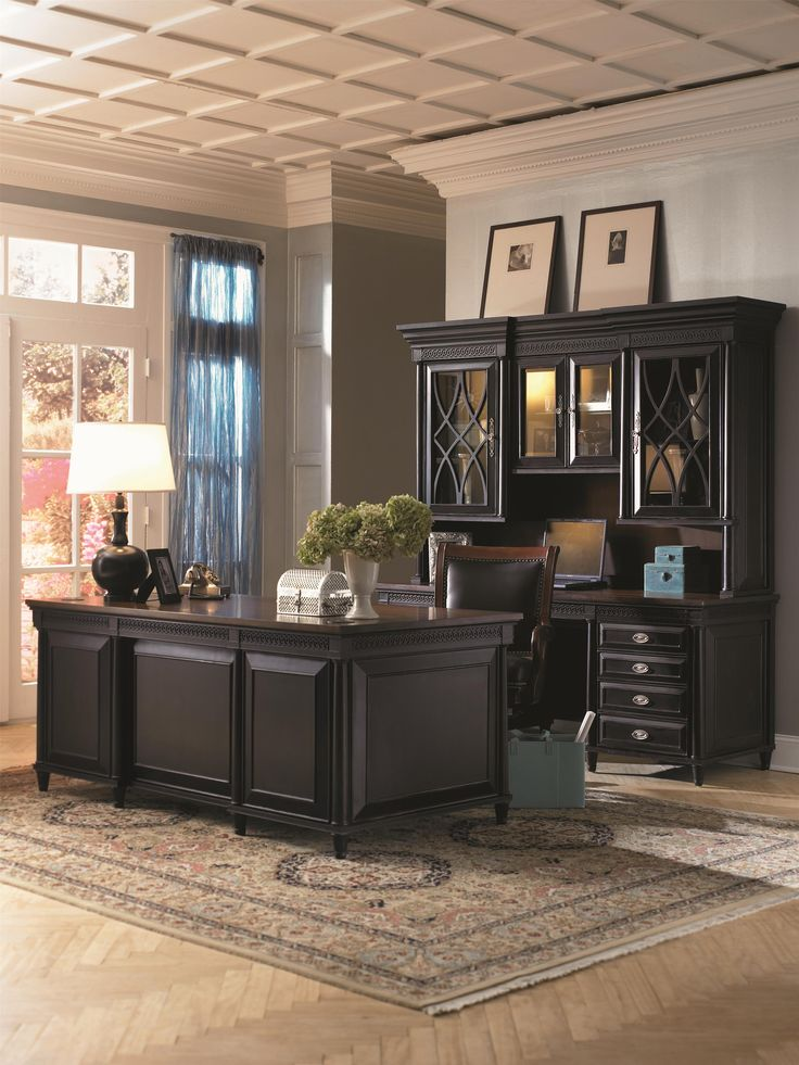 A classy home office with a beautiful black and brown two-toned desk and exquisite detailing. - Young Classics Credenza Desk and Hutch by #Aspenhome