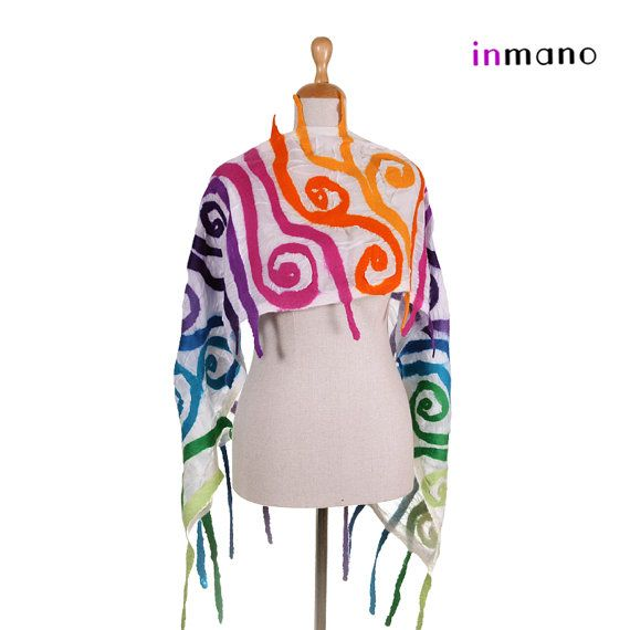 white nuno felted scarf wild multicolor  silk felt wool by inmano