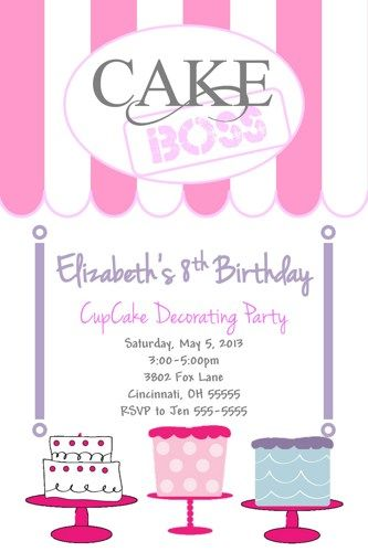 Cake Cupcake Boss Birthday Party Invitation Cake Decorating Party