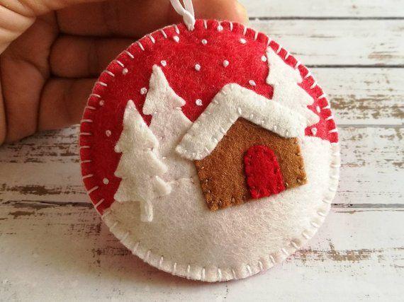 Felt Christmas ornament – Winter landscape, Christmas village ornament, Gingerbread house, tree decoration, gift topper