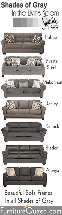 Shades of Grey Living Room Furniture... Beautiful Gray Sofa Frames by Signature Design by Ashley.