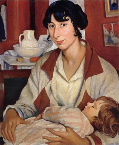 Portrait of A.A.Cherkesovoy-Benoit and his son Alexander  - Zinaida Serebriakova