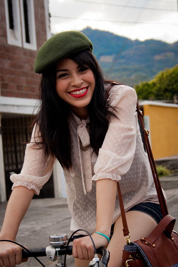 green beret, white secretary blouse (with ascot tie)