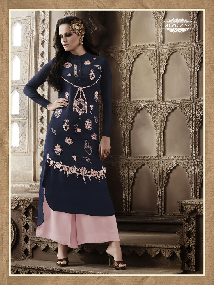 #NavyBlue #Colour #Embroidery #Georgette #Stitched #Kurti @ www.glamyshop.com