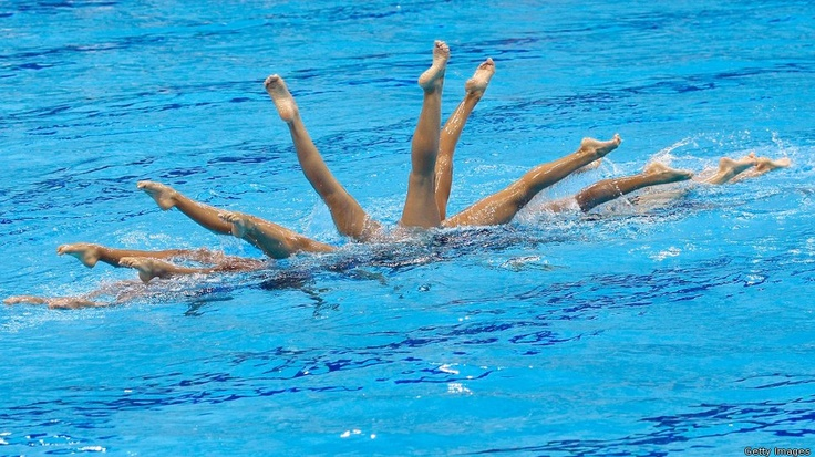 GB Synchronised Swimming team practices in London