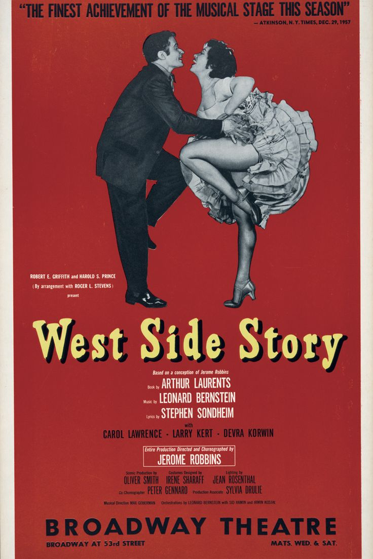 West Side Story. Broadway Theatre, New York City. 1958