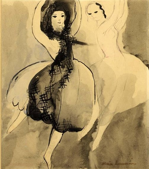 """Marie Laurencin, DANCERS  Walter Benjamin stated about her... """"The lesbian is the heroine of modernism"""" (qtd. in Otto). Her paintings are mostly of women: women alone, or women together, dancing, gazing, or embracing. Two paintings that exemplify this concept are Song of Bilitis, and The Young Women.   Feminist Manifesto. Mina Loy"""