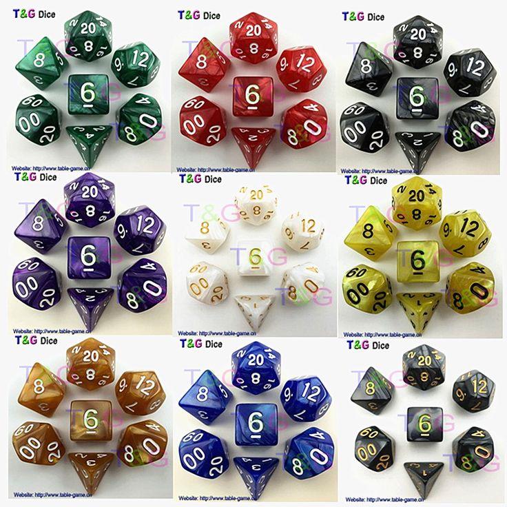 7pcs/bag High Quality Marble effect Dice Set, D4,d6,d8,d10,d10%,d12,d20 dice sets for Dnd Game dice