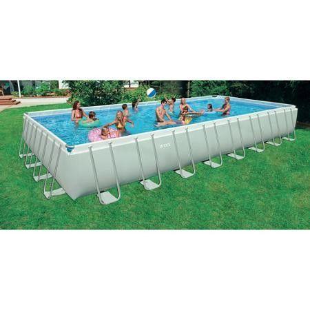 Luxury Intex x x Foot Ultra Frame Rectangular Pool Set w Pump and Ladder