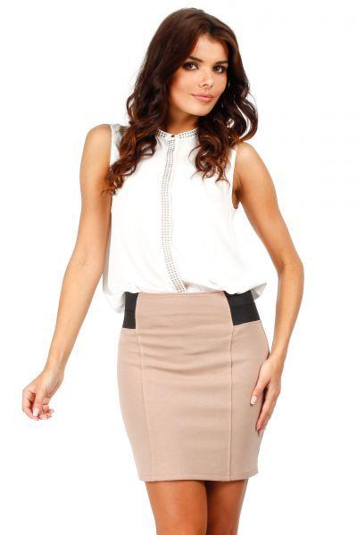Attractive beige mini skirt