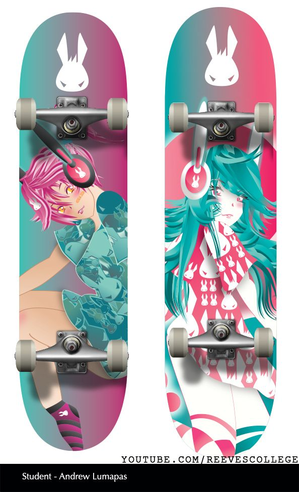 Skateboard Deck Design Adobe Illustrator CS6 by Reeves College Student Andrew L  #skateboard #clipart #design #art #skateboardart #skateboarddesign #skatedeck #deckart #deckdesign #graphicdesign Subscribe to Reeves College:  http://www.youtube.com/subscription_center?add_user=ReevesCollege