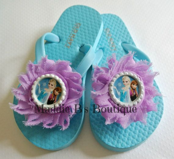 New Toddler flip flops-Shabby flower flops-FROZEN-Elsa Anna Blue purple flip flops Disney shoes -made by Maddie B's Boutique on Etsy on Etsy, $12.95