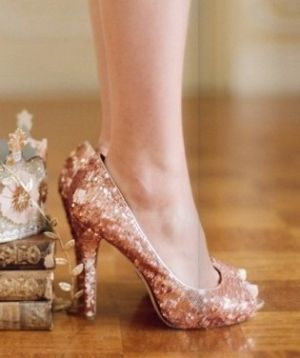 Rose gold sparkly heels