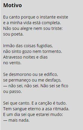Motivo - Cecília Meireles