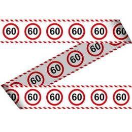 Afzetlint 60 jaar verkeersbord -  Een pak afzetlint om huis, tuin, auto etc. mee te versieren. Lengte: 15 meter!   www.feestartikelen.nl