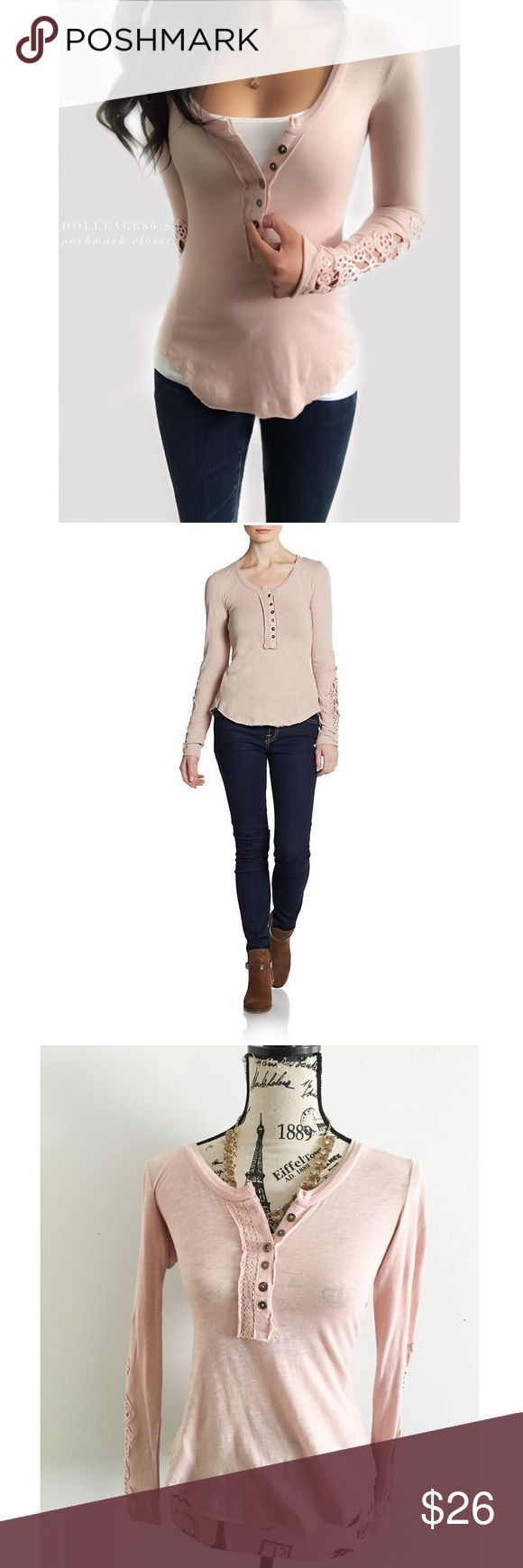 """Gray By Saks Fifth Avenue Lace Cuff Henley ✦ this cute Lilac colored henley top has lace cuffs with a cute parted style stitch in the back  ✦{I am not a professional photographer, actual color of item may vary ➾slightly from pics}  ❥chest:16"""" ❥waist:14"""" ❥length:22""""/25"""" ❥sleeves:25"""" ➳material/care:cotton/machine wash  ➳fit:true, but has stretch ➳condition:has a mended spot, no stains  ✦20% off bundles of 3/more items ✦No Trades  ✦NO HOLDS ✦No transactions outside Poshmark  ✦No lowball…"""