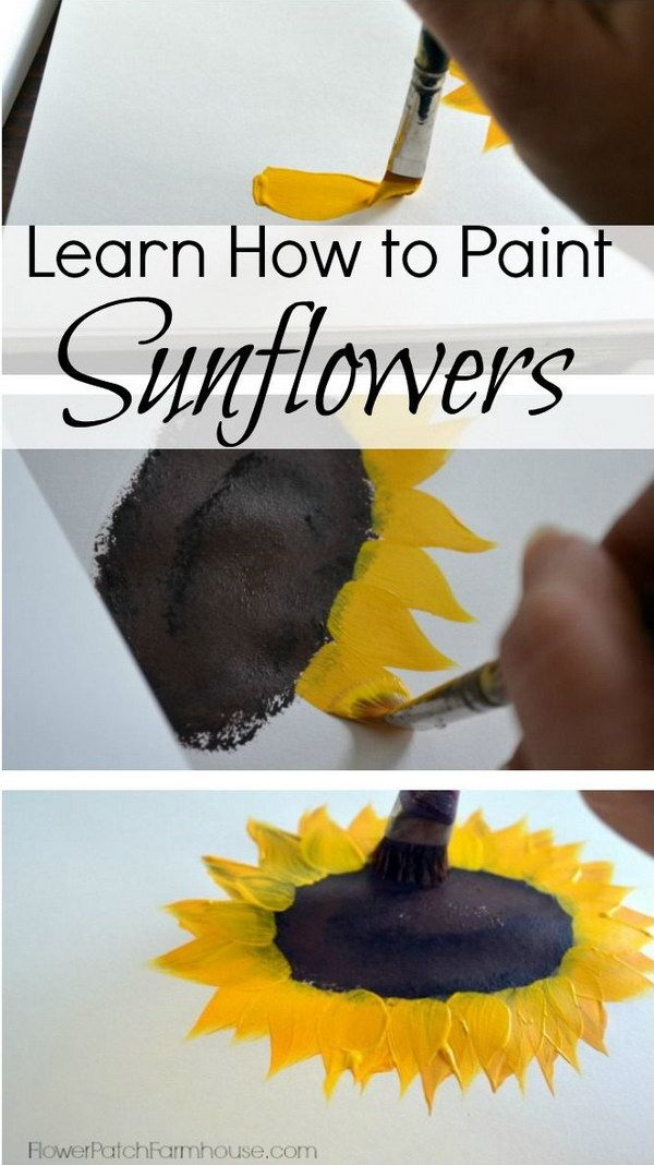 30 awesome wall art ideas and tutorials. Learn to paint Sunflowers. Beginner Canvas painting ideas.