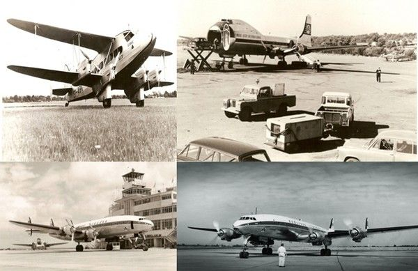 Les différents avions qui ont marqués, depuis sa création, la compagnie Aer Lingus : En haut à gauche : DH 86a EI-ABK Eire; à droite : Aer Lingus Carvair aircraft circa 1960s; En bas à gauche : DAP 1947-48 ; A droite : 1950s transatlantic flight ; © Archives Aer Lingus