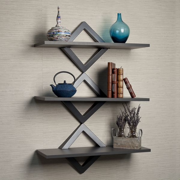 danya b diamonds three level shelving system grey charcoal