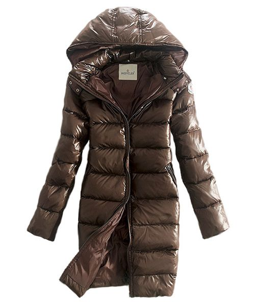 Moncler Coats Down Women Smooth Shiny Fabric Coffee Cheap Moncler Jackets  Outlet Store