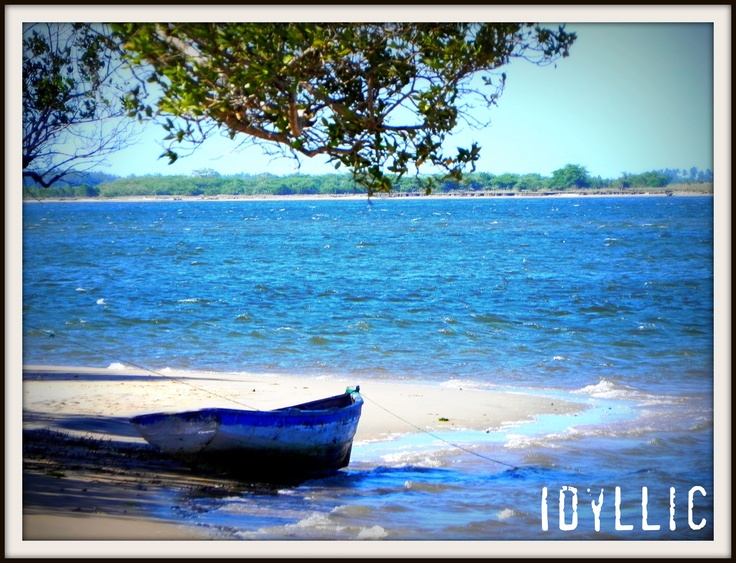 Random fishing boat at Limpopo river mouth in Mozambique