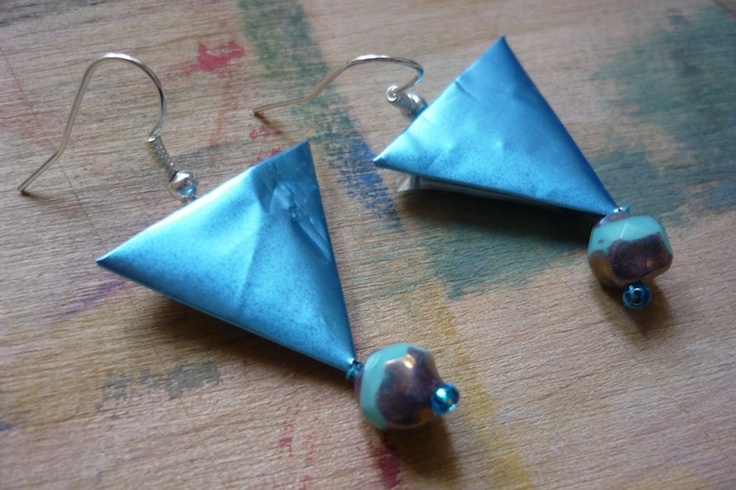 coffee bag triangle earring