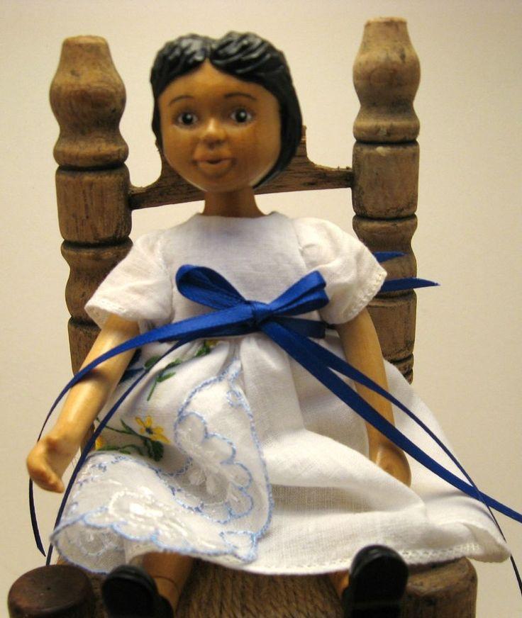 OOAK CUSTOM #Hitty White with Blue  Hanky Dress with Crinoline FREE SHIPPING
