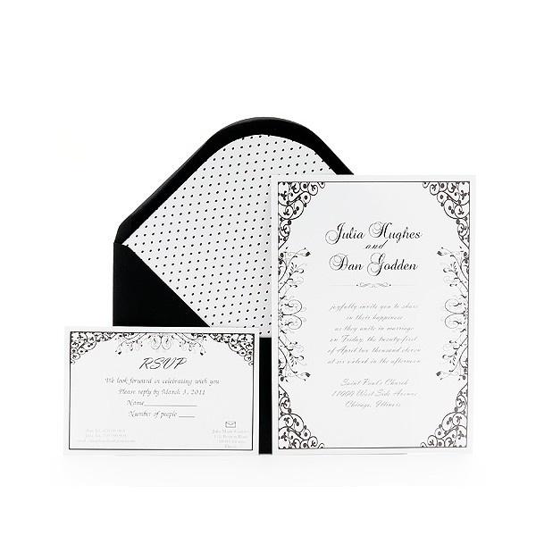 Invitación de boda clasica blanco y negro