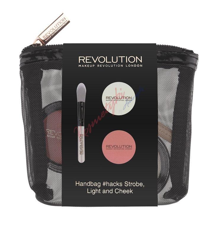 Makeup Revolution Handbag Strobe, Light And Cheek Zestaw Róż, Rozświetlacz I Pędzelek
