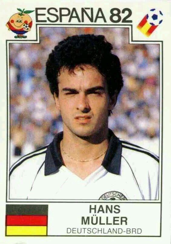 Hans Muller of West Germany. 1982 World Cup Finals card.