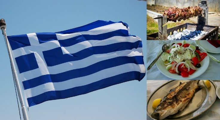 60 Greek Food/Drink Words And Phrases.................  Know your souvlaki (clockwise from left): Greece's flag, Kokoretsi on a spit, horiatiki salad, grilled whole lavraki (or sea bass).