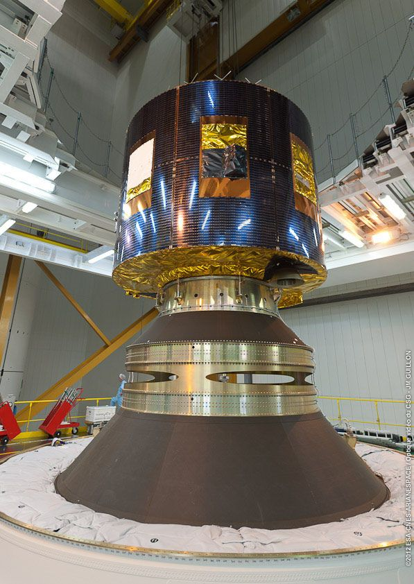 https://flic.kr/p/cqJmkQ | MSG-3 integrated onto final separation stage | MSG-3 is planned for launch in July 2012 from Europe's Spaceport in French Guiana. MSG-3 is the third in a planned series of four satellites operated by Eumetsat, the European Organisation for the Exploitation of Meteorological Satellites. The satellites return highly detailed imagery of Europe, the North Atlantic and Africa every 15 minutes for use by meteorologists and national weather forecasters. MSG-3 has two…