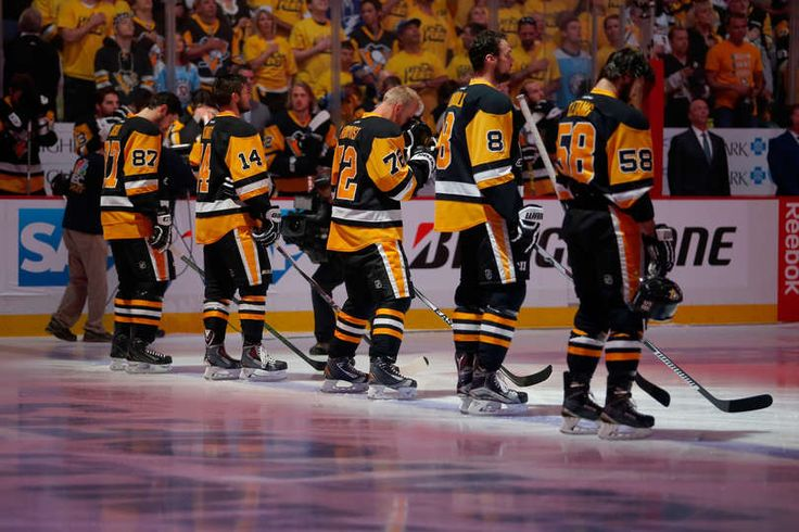 TAMPA BAY LIGHTNING VS. PITTSBURGH PENGUINS - GAME SEVEN PITTSBURGH, PA - MAY 26: The Pittsburgh Penguins stand on the ice during the national anthem prior to Game Seven of the Eastern Conference Final against the Tampa Bay Lightning during the 2016 NHL Stanley Cup Playoffs at Consol Energy Center on May 26, 2016 in Pittsburgh, Pennsylvania. (Photo by Justin K. Aller/Getty Images)
