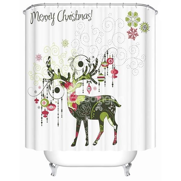 Carnation Home Fashions Christmas Time Fabric 6 By Shower Curtain Hooks PHP CT ASST