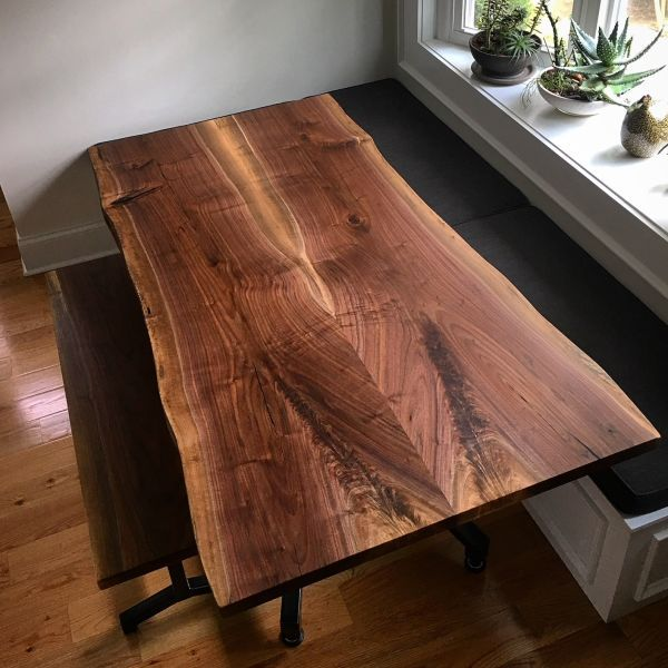 Book Matched Walnut Kitchen Table By Urbn Timber At Private Residence Los Angeles Walnut Kitchen Table Industrial Style Coffee Table Table