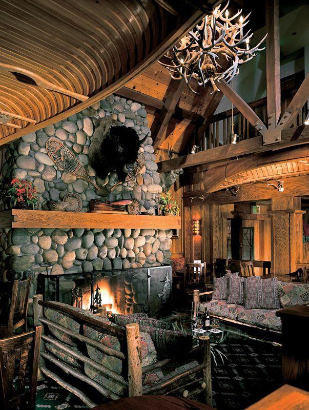 Sunnyside Lodge, near Tahoe.: Stones Fireplaces, Awesome Fireplaces, Dreams Houses, Fireplaces Area, Tahoe Cities, Lodges Decor, Fireplaces Screens, Sunnysid Lodges, Logs Cabins