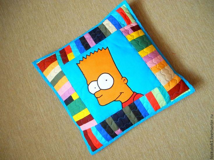 Купить пэчворк подушка с аппликацией БАРТ СИМПСОН лоскутная подушка диванная - пэчворк подушка