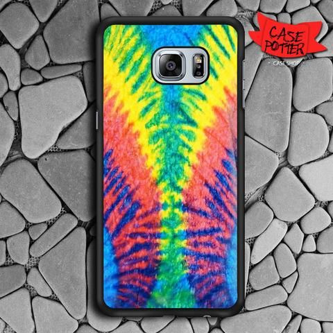 Tie Dye Multi Color Cut Spiral Samsung Galaxy S7 Edge Black Case