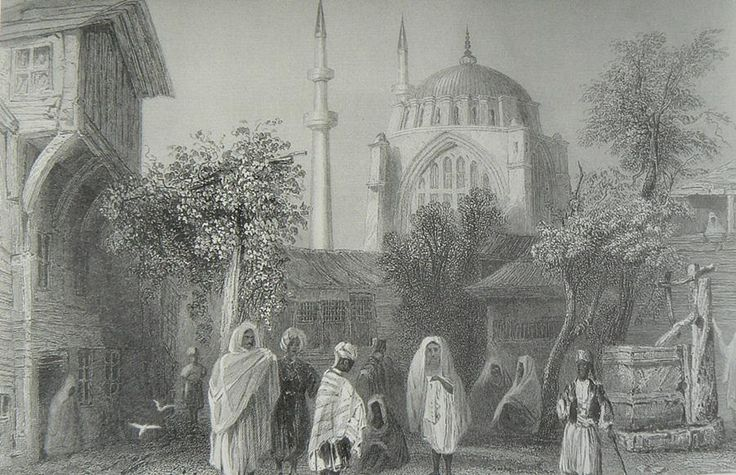 #HALİÇ ALBÜMÜ: #Nuruosmaniye Camii ve çevresindeki mahalle yaşamını betimleyen gravür (W.H.Bartlett, 1835) #İstanbul