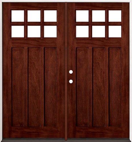 6-Lite Craftsman Mahogany Wood Entry #43 Double Doors